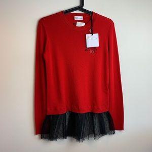 Red Valentino Wool Ruffle Lace Sweater